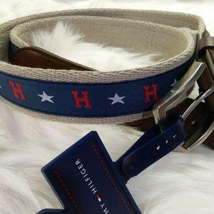 New Tommy Hilfiger Men Canvas Ribbon Inlay stars M
